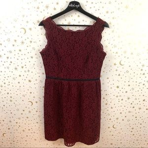 Loft | Floral Lace Sleeveless Belted A-Line Dress